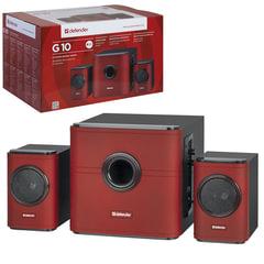 Колонки компьютерные DEFENDER G10, 2.1, 2х7,5 Вт, 1х15 Вт, деревянный корпус, красные