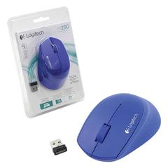 Мышь беспроводная LOGITECH M280, 2 кнопки + 1 колесо-кнопка, оптическая, синяя