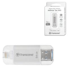 Флэш-диск, 64 GB, TRANSCEND JetDdrive Go 300, USB 3.1, серебро, подключение к IPhone (iPad)
