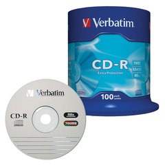 Диски CD-R VERBATIM, 700 Mb, 52х, 100 шт., Cake Box