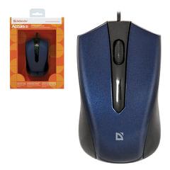 Мышь проводная DEFENDER ACCURA MM-950, USB, 2 кнопки + 1 колесо-кнопка, оптическая, чёрно-синяя