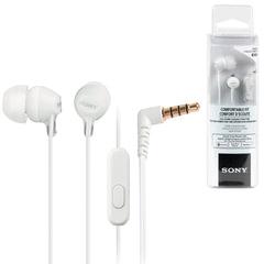 Наушники с микрофоном (гарнитура) SONY MDR-EX15AP, проводные, 1,2 м, вкладыши, стерео, белые