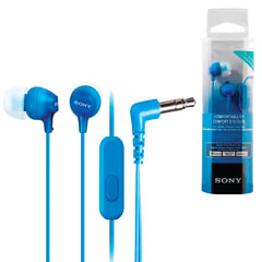 Наушники с микрофоном (гарнитура) SONY MDR-EX15AP, проводные, 1,2 м, вкладыши, стерео, голубые