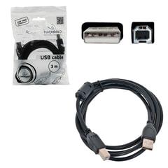 Кабель USB 2.0 AM-BM, 3 м, CABLEXPERT, 1 фильтр, для принтеров, МФУ и периферии