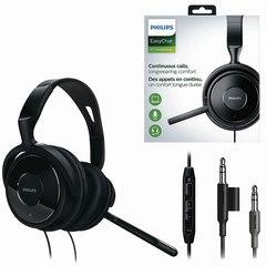 Наушники с микрофоном (гарнитура) PHILIPS SHM6500/10, проводные, 2 м, накладные, 2 mini jack 3,5 мм, черные
