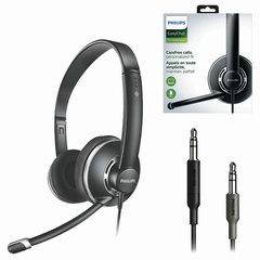 Наушники с микрофоном (гарнитура) PHILIPS SHM7410U/10, проводные, 3 м, накладные, 2 mini jack 3,5 мм, черные