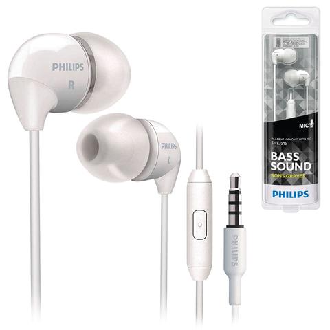 Наушники с микрофоном (гарнитура) PHILIPS SHE3515WT, проводные, 1,2 м, стерео, вкладыши, белые