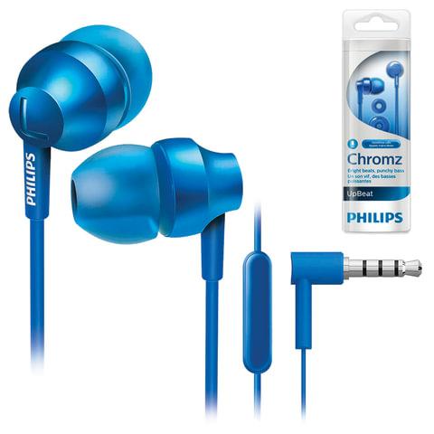 Наушники с микрофоном (гарнитура) PHILIPS SHE3855BL/00, проводные, 1,2 м, стерео, вкладыши, синие