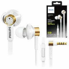 Наушники с микрофоном (гарнитура) PHILIPS TX2WT/00, проводные, 1,2 м, стерео, вкладыши, белые