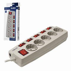 Сетевой фильтр SVEN Platinum, 5 розеток, 1,8 м, защитные шторки, отдельные выключатели, серый