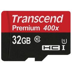 Карта памяти micro SDHC, 32 GB, TRANSCEND Premium 400x, UHS-I U1, 60 Мб/сек. (class 10)