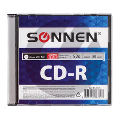 Диск CD-R SONNEN, 700 Mb, 52x, Slim Case (1 штука)