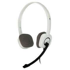 Наушники с микрофоном (гарнитура) LOGITECH H150, проводные, 1,8 м, с оголовьем, белые