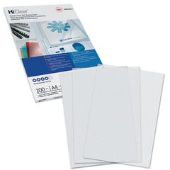 Обложки для переплета GBC (Англия), комплект 100 шт., PVC Transparent, A4, пластиковые, 200 мкм, прозрачные