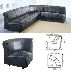 """Кресло (секция) угловое """"Ригель"""", 705х860х860 мм, без подлокотников, экокожа, черное"""