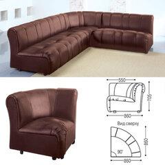 """Кресло (секция) угловое """"Ригель"""", 705х860х860 мм, без подлокотников, экокожа, коричневое"""