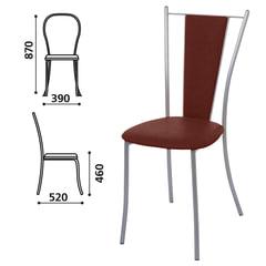 """Стул для столовых, кафе, дома """"Ланч"""", серебристый каркас, кожзам коричневый глянец"""