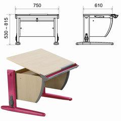 "Стол-парта регулируемая ""Дэми"" СУТ.14, 750х610х530-815 мм, розовый металлический каркас, ЛДСП, клен"