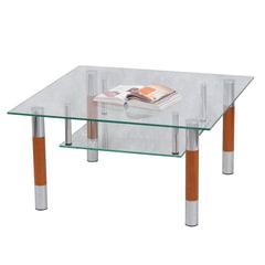 Стол журнальный, стекло/дерево/металл, Кристалл - ПК (П), 1000х600х417 мм, хром