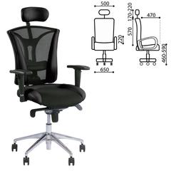 """Кресло офисное """"Pilot R HR"""", экокожа/ткань, хром, черное, с тканевыми вставками"""