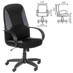 """Кресло оператора """"Амиго"""", с подлокотниками, комбинированное (черное/серое)"""