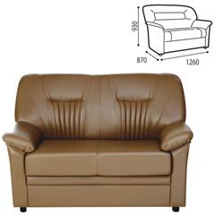 """Диван двухместный """"Гарда"""", 930х1260х870 мм, c подлокотниками, экокожа, коричневый"""