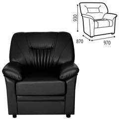 """Кресло """"Гарда"""", 930х970х870 мм, c подлокотниками, экокожа, черное"""