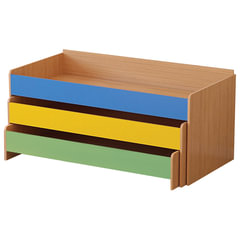 Кровать детская трехъярусная, 1480х652х720 мм, ЛДСП, бук бавария/цветная, настил фанера