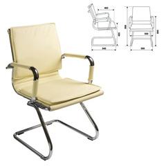 Кресло для приемных и переговорных CH-993-Low-V с низкой спинкой, экокожа, хром, слоновая кость
