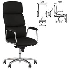 """Кресло офисное """"California steel chrome"""", экокожа, хром, черное"""