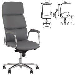 """Кресло офисное """"California steel chrome"""", экокожа, хром, серое"""