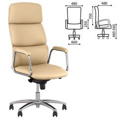 "Кресло офисное ""California steel chrome"", экокожа, хром, бежевое"