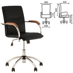"""Кресло оператора """"Samba GTP"""", деревянные накладки, хром, кожзам черный"""