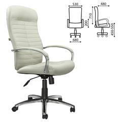 """Кресло офисное """"Консул"""", кожа, хром, белое"""