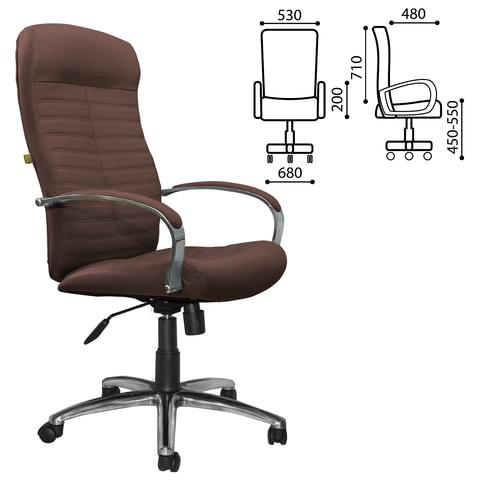 """Кресло офисное """"Консул"""", кожа, хром, коричневое"""