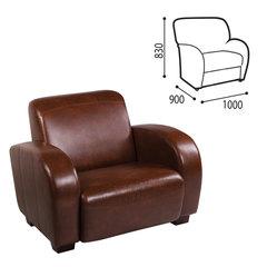 """Кресло мягкое """"С-400 М"""" 1000х900х830 мм, c подлокотниками, экокожа, коричневое"""