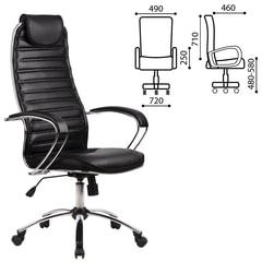 """Кресло офисное МЕТТА """"BC-5CH"""", экокожа, хром, черное"""