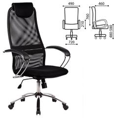 """Кресло офисное МЕТТА """"BK-8CH"""", ткань-сетка, хром, черное"""