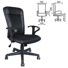 Кресло оператора BRABIX Optima MG-370, с подлокотниками, экокожа/ткань, черное, код 1