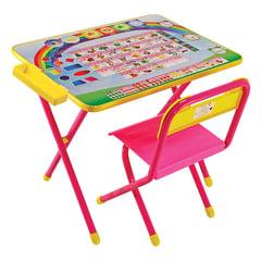 """Стол детский + стул ДЭМИ, рост 2, складной, с пеналом, розовый каркас, """"Алфавит"""""""