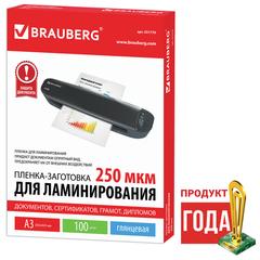 Пленки-заготовки для ламинирования BRAUBERG, комплект 100 шт., для формата А3, 250 мкм