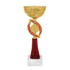 """Кубок металлический """"Динара"""" (80х80х230 мм), основание мрамор, """"золото"""", цоколь красный"""
