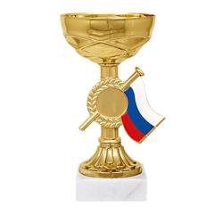 """Кубок металлический """"Гелла"""" (80х80х160 мм), основание мрамор, """"золото"""""""