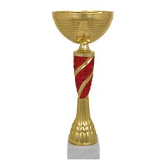 """Кубок металлический """"Янита"""" (100х100х330 мм), основание мрамор, """"золото"""", стем красный"""
