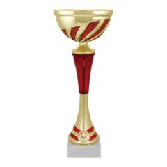 """Кубок металлический """"Март"""" (80х80х260 мм), основание мрамор, """"золото"""", стем красный"""