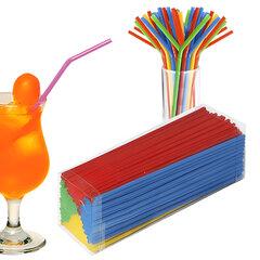 Одноразовые трубочки для коктейля, КОМПЛЕКТ 250 шт., L=240 мм, d=5 мм, гофрированные, разноцветные