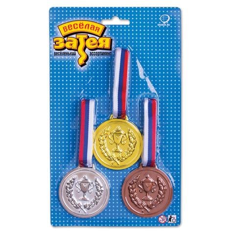 Праздничная медаль чемпиона, 3 шт. (золото, серебро, бронза)