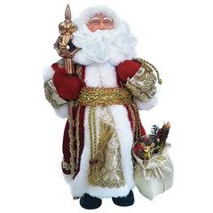Дед Мороз декоративный, пластик/ткань, высота 30 см, в красной шубе