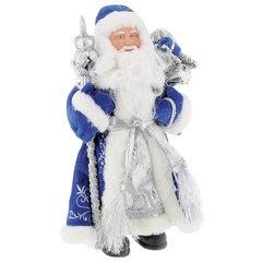 Дед Мороз декоративный, пластик/ткань, высота 41 см, в синей шубе