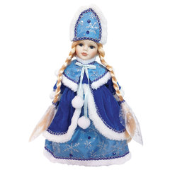 """Снегурочка декоративная """"Мариша"""", пластик/ткань, высота 30 см, в синей шубе"""